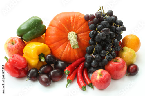 Pumpkin, peppers and fruits