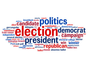 """ELECTION"" Tag Cloud (US politics president congress campaign)"