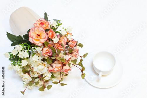 beautiful pink flowers and coffe cup
