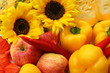 Sunflowers, apples and peppers