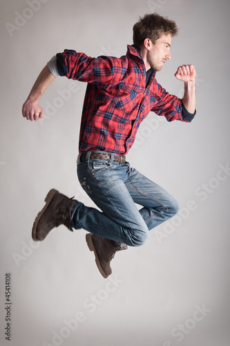 Young man jumping.