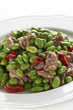Chopped pork meat with boiled green beans
