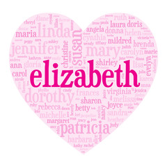 """ELIZABETH"" Tag Cloud (i love you be valentine card heart)"