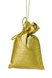 Golden Gift bag tree decoration isolated on white