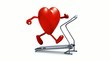Video: heart on a walking machine, 3d animation