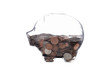 clear piggy bank with coin