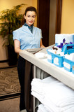 Charming female executive holding toiletries cart poster