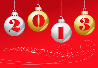 Bonne année 2013 boules rouges