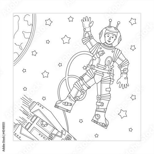 Coloring page - space, astronaut, spaceship, Earth and stars