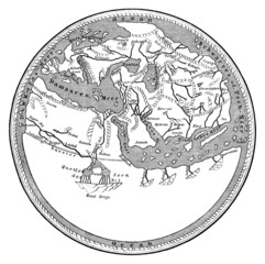 """Medieval map : the ancient """"flat Earth"""" - 12th century"""