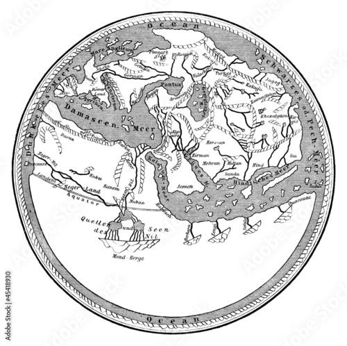 Aluminium Retro Medieval map : the ancient