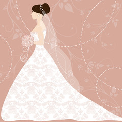 Beautiful bride on pink background