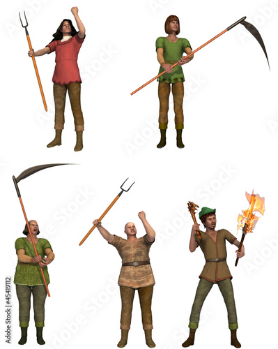 A set of five angry villagers with pitchforks