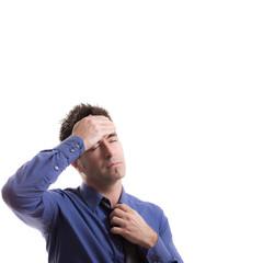 Manager mit Kopfschmerzen, isoliert