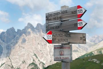 Mountain signs. Auronzo di Cadore. Dolomites, Italy.