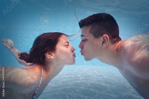 Underwater Couple Kissing In Swimming Pool By Pio3 Royalty Free Stock Photos 45419954 On