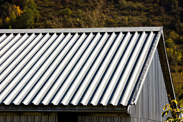 Grey metallic corrugated roof