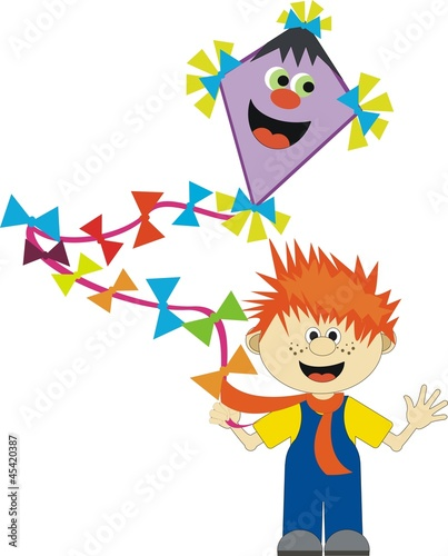 happy red-haired boy and paper kite (child theme)
