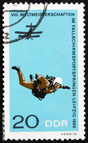 Postage stamp GDR 1966 Parachutist in Free Fall