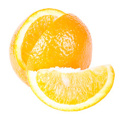 The orange with a slice