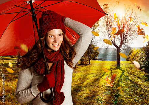 Leinwandbild Motiv umbrella 08/girl in autumn sunset with umbrella