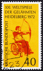 Postage stamp Germany 1972 Archer in Wheelchair