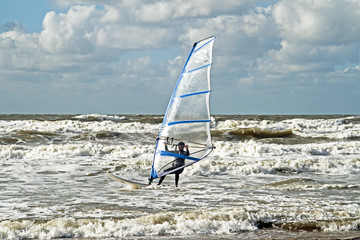 Windsurfing on the north sea in the Netherlands