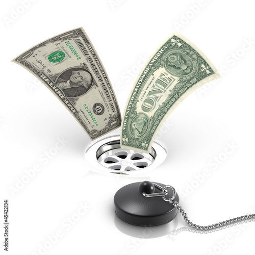 3d Dollars flowing down the drain