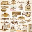 Retro vintage labels restaurant, set of various food  themes