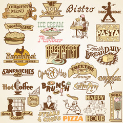 Retro vintage labels restaurant, set of various food  themes