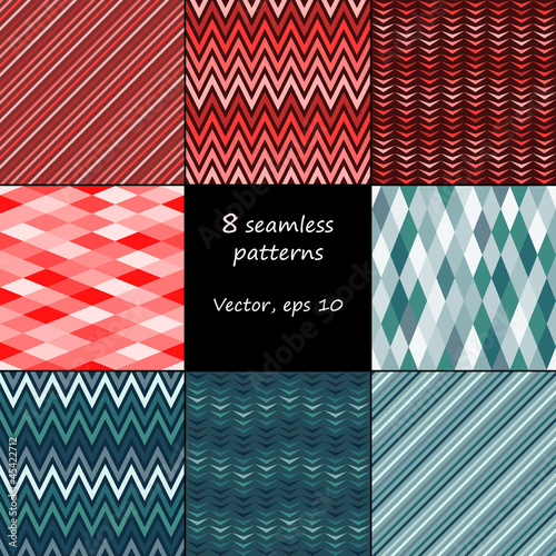 Set of 8 seamless patterns, vector