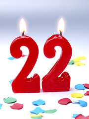 Birthday candle showing Nr. 22