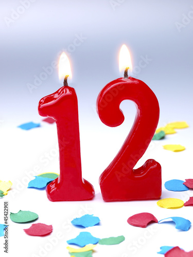 Birthday candle showing Nr. 12