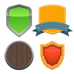 Set of different shields. Vector illustration.