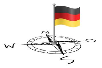 Fahne Deutschland Kompass