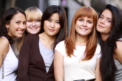 Closeup portrait of five urban women