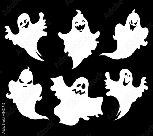 Set of halloween ghosts for design