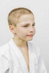 portrait of cute young teen boy in kimono