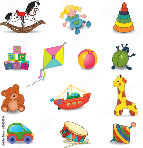 Baby's toys set.Vector illustration