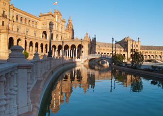 Plaza de Espana (Square of Spain) in Seville at sunset