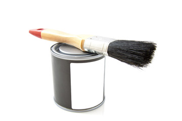 Paint brush with paintcan
