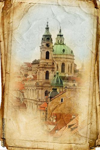widoki Pragi wykonane w stylu vintage, jak z pocztówki