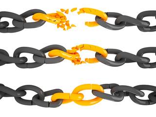 Kettenglied gesprengt Abfolge 3D