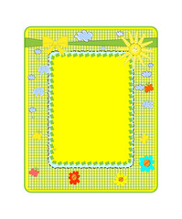 abstract yellow frame with sun vector
