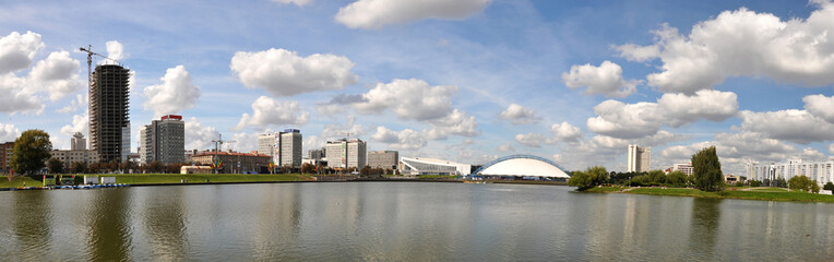 Panorama of Minsk across Svislotch river