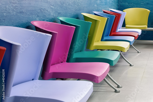 Colorful chairs in a waiting room