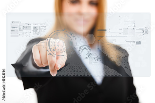 Woman using a touchscreen