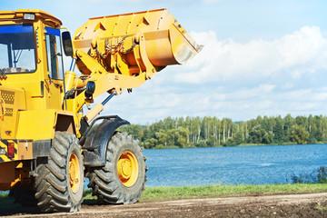 wheel loader excavator at work