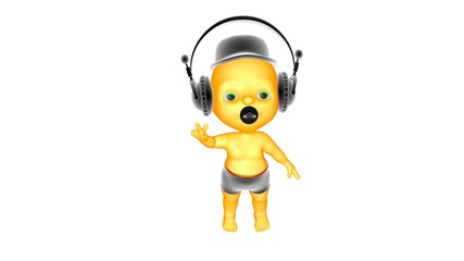 3D kid listens to music and dancing