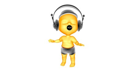 3D Сhild listens to music and dancing